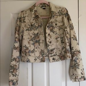 Rue 21 Women's Cropped Floral Denim Jacket Size L